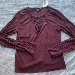 NWT maroon criss cross ribbed long sleeve tee